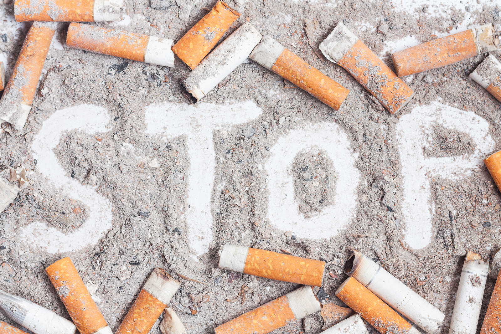 Cigarette butts and ashes. Quit smoking now